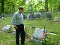 The Composer at the grave of Samuel Barber