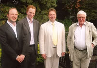 Ian Venables with tenor Andrew Kennedy, pianist Joseph Middleton and composer Hugh Wood at Cambridge University